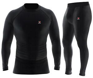 Mens Compression Shirt Long Sleeve Dri Fit Base Layer Black White Running Tops $17.99