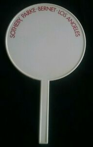 Vintage Auction Paddle Sotheby No # Round White Plastic