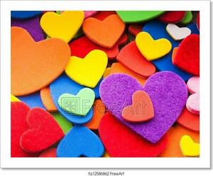 Colorful Hearts Art/Canvas Print. Poster, Wall Art, Home Decor