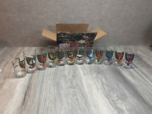 Vintage Twelve Days of Christmas Glass Set 12 American Made 12 Ounce Oz