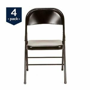 4 Pack Steel Folding Chair Rubber Capped Feet For Parties Office Meetings Black