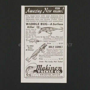 1946 Makinen Tackle Waddle Bug Holy Comet Fly Fishing Lures art decor vintage ad