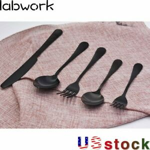 5 Piece Set Stainless Steel Dinner Knife Spoon Silverware Black Flatware US