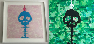 2 TAKASHI MURAKAMI SIGNED FRAMED LIMITED PRINT Pink Green Camouflage Skull 村上隆