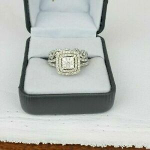4.35Ct 14k White Gold Princess Diamond Engagement Ring With Beautiful Band