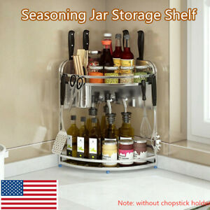 2 Tier Stainless Steel Kitchen Cabinet Corner Spice Rack Storage Organizer