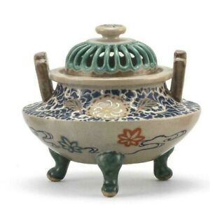Japanese Kyoto Gosu Blue Satsuma Censer Tripod Base Pierced Cover 525 Inches