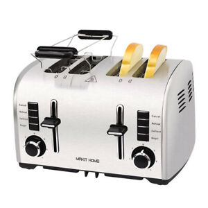 Compact Toaster Stainless Steel Extra Wide Slot Bread Oven w/ Lift Level Bagel