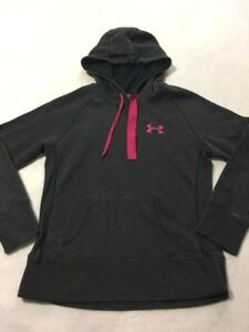 Under Armour XS Charcoal Gray Raspberry Pink Storm Hoodie Sweatshirt Extra Small $14.99