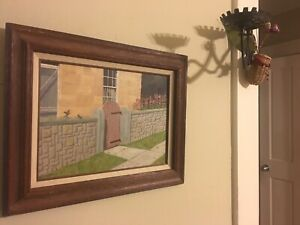 Fine Art OIL PAINTING Masonite Pendarvis House MINERAL POINT WISCONSIN 195060s