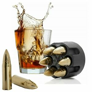 Whiskey Stones Extra Large Gold Whiskey Bullet- 6-Pack W Realistic Revolver Base