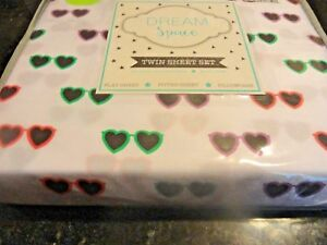 new 3 pc~Twin SHEET SET~Colorful Heart Shaped SUNGLASSES FUN novelty Brushed
