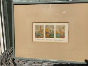 Original Etching Watercolor Painting Signed Danielle Desplan Listed Artist 5060 $49.99