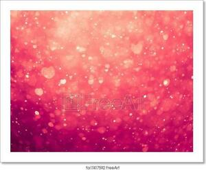 Glowing Pink Hearts Background Art/Canvas Print. Poster, Wall Art, Home Decor