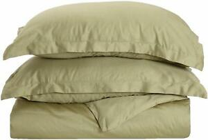 Superior Cotton 300 Thread Count 3Pc Soft Smooth Duvet Cover Set Full/Queen Sage
