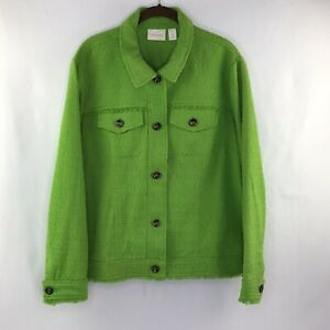 Chico#x27;s Tweed Style Women's Jacket Fringe Trim Color Green XL