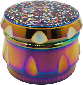 2.2quot; 4 Piece Pretty Glitter Grinder Bling Tobacco Herb Spice Crusher Rainbow
