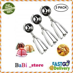 Cookie Dough Ice Cream Scoop Set Of 3 Stainless Steel Trigger Meatball Biscuit !