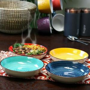 Gibson Home  Multi Color Ceramic Pasta Bowl Set Red, Yellow, Blue, Turquoise