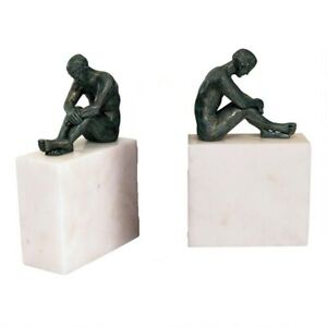 Thinking Man Iron amp; Marble sculptures Set of 2 Contemplation Replica Home Decor $138.90
