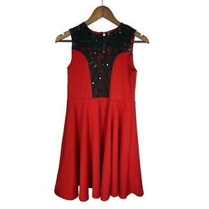 Pippa And Julie Girls Fit amp; Flare Party Dress w Black Lace amp; Sequins size 14 Red $28.90