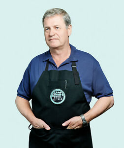Chef Apron, professional, Single Man's Kitchen, black, size medium, quick link.