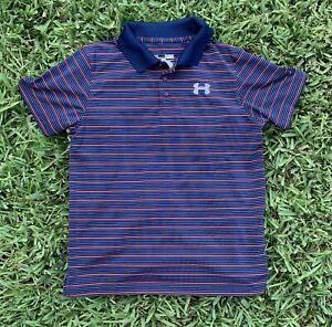 Under Armour Youth Blue Gray and Red Stripe Golf Shirt Large Youth 12 14 $15.00