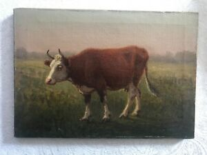 Antique Oil Painting Signed George Hays 1901 Brown Cow