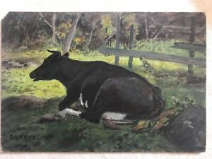 Antique Oil Painting Signed George Hays 1914 Holstein Cow