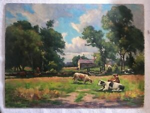 Antique Pastoral Cows Painting Arthur Ward Signed Titled