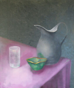 Pewter Pitcher - still life oil painting by American C. Taylor (1944-2017)