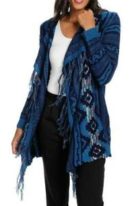 NEW One World Southwestern Sweater Knit Cascade Open Front Fringed Duster $17.99