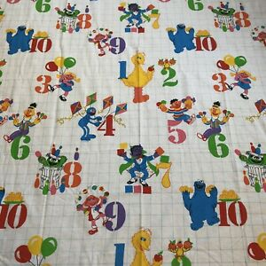 Vintage Sesame Street Numbers Twin Sheet Set Flat Fitted JP Stevens Bert Ernie