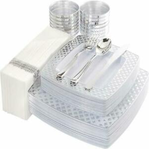 175 Pcs Silver Plastic Square Plates with Disposable Silverware Cups Napkins $68.62