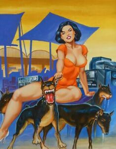 ORIGINAL PULP MEXICAN COVER ART HOT LATINA GIRL FEMALE WOMAN PINUP PAINTING $337.50