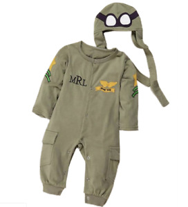 Baby Toddler Boy Air Force Fleece Halloween Costume Jumpsuit Cosplay Clothes