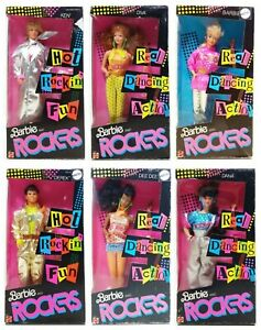 1986 Barbie And The Rockers Ken Diva Barbie Derek Dee Dee & Dana Lot Of 6 Dolls