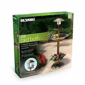 4 in 1 Bird Bath with Solar Light and Planter Lightweight Antique Garden NEW $58.88