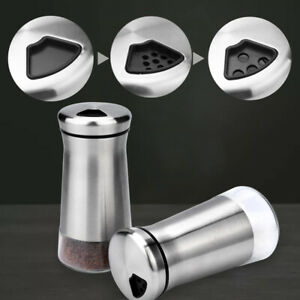 2-Piece/Set Stainless Steel Salt Shaker Seasoning Can with Adjustable Pour Holes