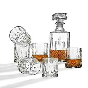 7 Piece Whiskey Glass Set With Square Decanter 6 Glasses Home Bar Scotch Whiskey