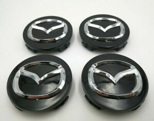 4PC Set 56mm Black With Chrome Logo Wheel Center Caps Emblem Fit For Mazda
