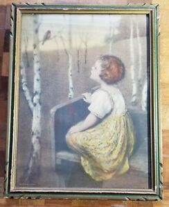Framed Antique Samuel Schiff NY Chromolithograph SPRING SONG by Simon Glucklich