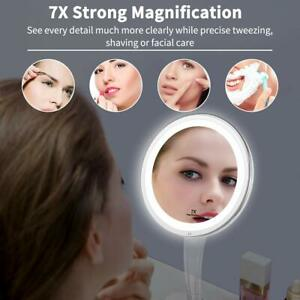 Upgraded Makeup Mirror 7X LED Lighted Adjustable Bright Tabletop Wireless US