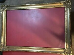 Old Vintage Wood Carved Ornate Picture Frame Large Wooden For Painting Gesso $249.99