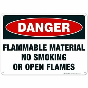 Danger Flammable Materials Sign. No Smoking Or Open Flames Sign.