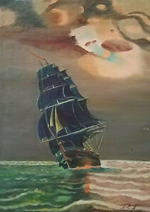 Signed Original USS Constitution Old Ironsides Antique Oil Painting Naval Ship $110.00