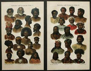 1895 Set of 2 antique lithographs of PEOPLE from OCEANIA. Oceanian. Australian. $16.00