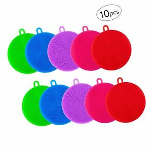 Apipi 10pcs Silicone Dish Sponges Silicone Dish Scrubber for Dishes Fruit Ve...