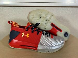 Men's Under Armour Drive 4 Low Basketball Shoes Red Silver 3020414 110 Size 10 $69.99
