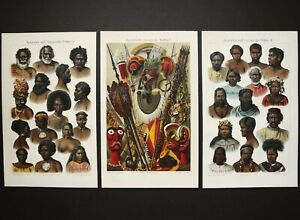 1895 Set of 3 antique lithographs of PEOPLE from OCEANIA. Oceanian. Australian. $24.00